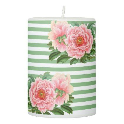 Pink Peonies Green Stripes Pillar Candle - romantic gifts ideas love beautiful