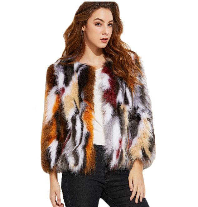 Multi Color Faux Fur Womens Jacket Coat. Winter essential its cozy, warm and extremely stylish
