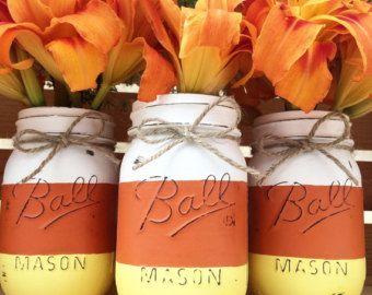 Set of 3 Hand Painted Mason Jar Pumpkins by MidnightOwlCandleCo
