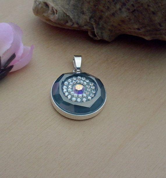 Handmade pendant DeCoRe Indian sapphire  Swarovski by TommyDark