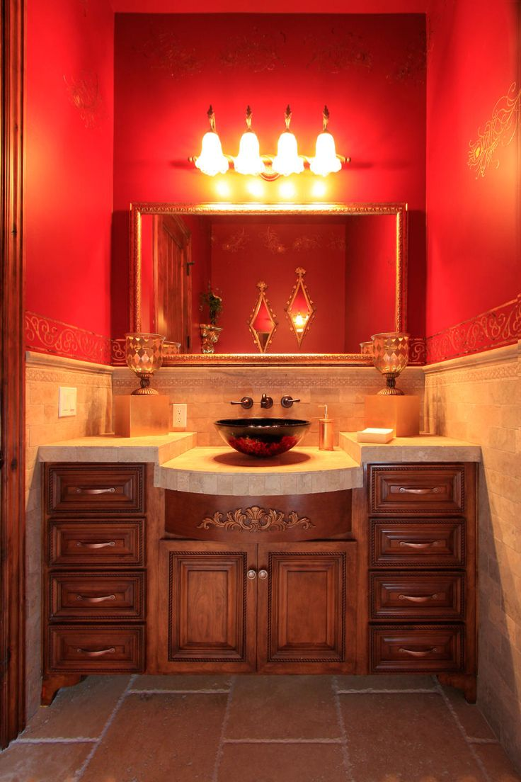 33 best powder room ideas images on pinterest bathroom for Red accent bathroom