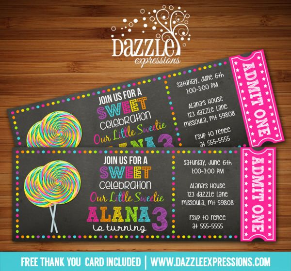 Printable Chalkboard Candy Lollipop Ticket Birthday Invitation | Candy Buffet | Candy Land | Sweet Shop | Digital File | Kids Birthday Party Idea | FREE thank you card | Party Package Available | Banner | Cupcake Toppers | Favor Tag | Food and Drink Labels | Signs |  Candy Bar Wrapper | www.dazzleexpressions.com