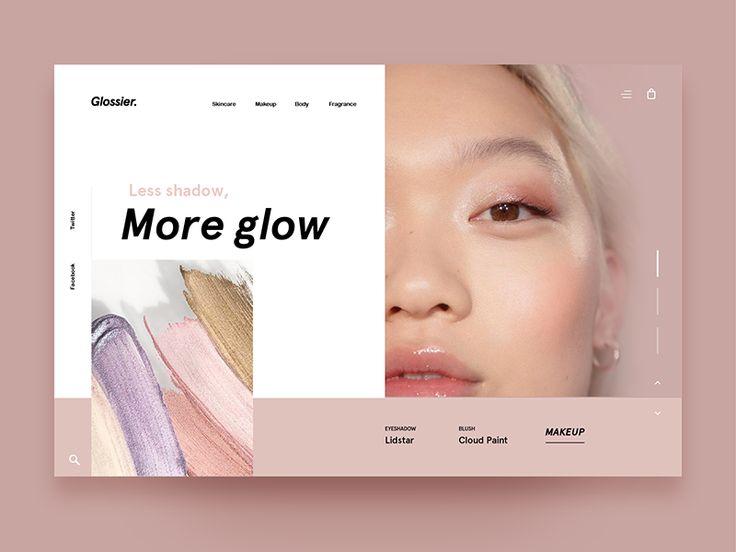 Glossier Homepage makeup fashion minimal blog ecommerce vx ux ui webpage web homepage glossier