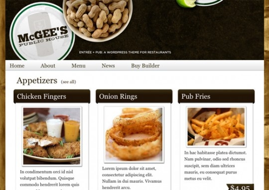 An alternate version of Entreé — Entreé Pub comes bundled with a plugin that adds custom post types specifically for adding dining menus and locations making it super easy to quickly create and manage a restaurant site.