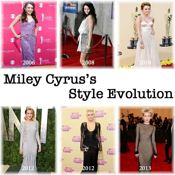 Miley Cyrus's Style Evolution since her debut as Hannah Montana.