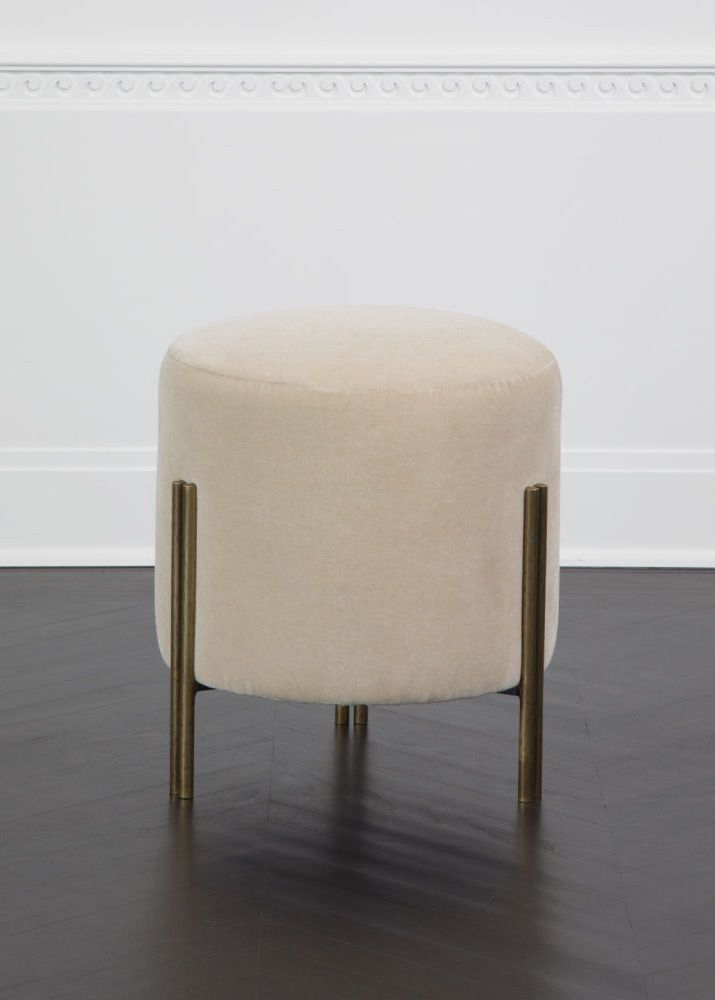 KELLY WEARSTLER | MELANGE FOOT STOOL. Low seating ottoman with burnished brass finish