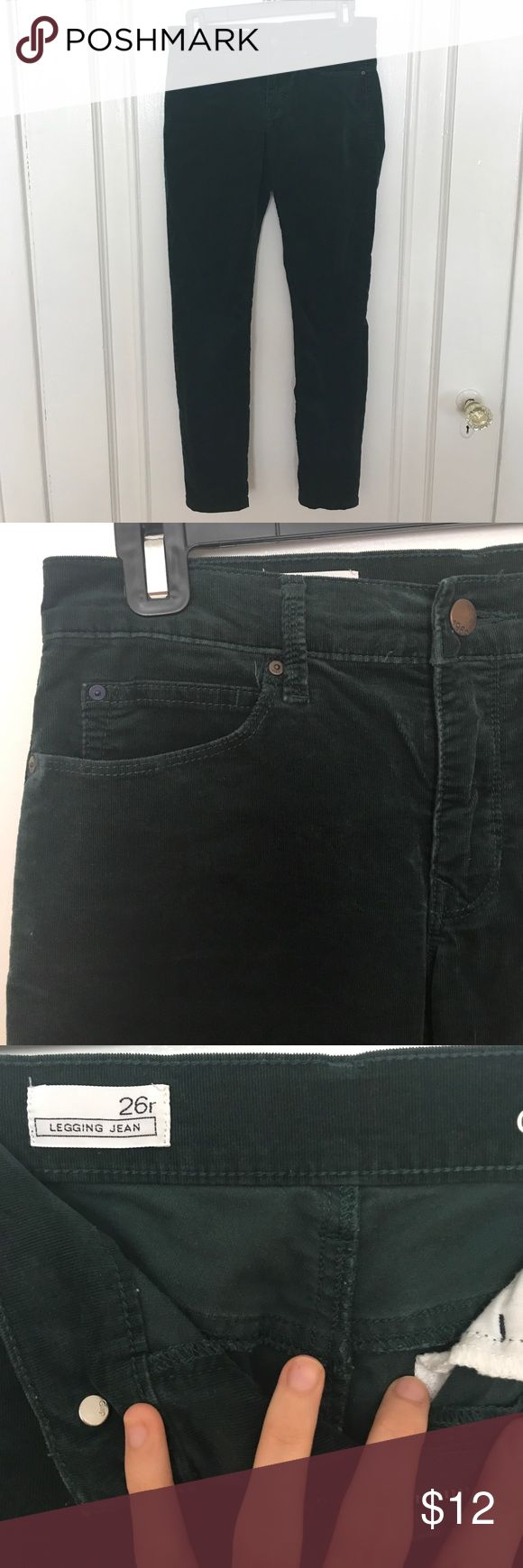 Evergreen Corduroy Legging Jeans Gorgeous evergreen corduroy Legging Jean by Gap. Size 26/ 2. Skinny fit. In good condition. These are the most comfortable jeans I've ever owned! Have same pants in plum color available in different listing. No trades please but open to offers. GAP Jeans Skinny