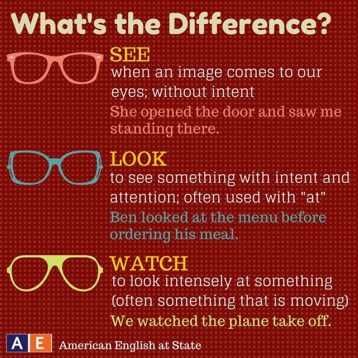 What's the difference between see look and watch