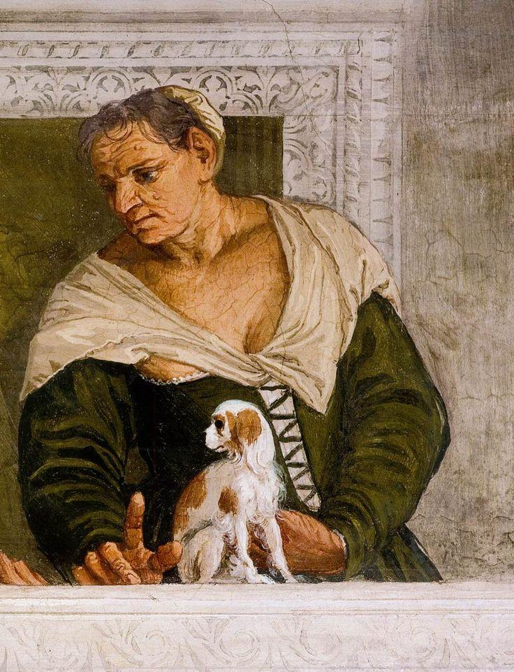 Paolo Veronese-Ritratto di donna,1560-1561,Villa Barbaro, Maser (villa veneta, costruita da Andrea Palladio tra il 1554 e il 1560 per l'umanista Daniele Barbaro e per suo fratello Marcantonio Barbaro, ambasciatore della Repubblica di Venezia