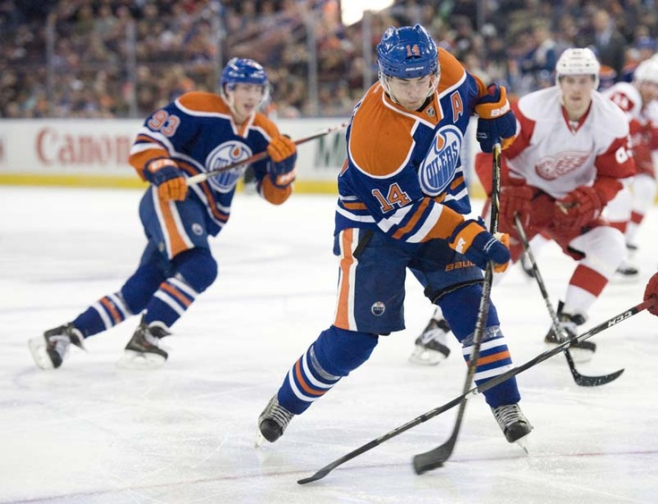 Jordan Eberle of the Edmonton Oilers fire a shot on goal against the Detroit Red Wings in a game at  Rexall Place in Edmonton on March 14, 2013. Photo by Shaugh Butts/Edmonton Journal #ejlensmen