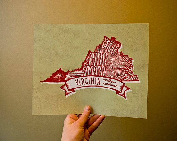 Prints of states designed with the feathers of their state bird.