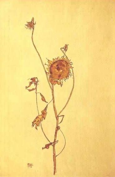 """Sunflowers"" by Egon Schiele (Austrian Expressionist painter, born June 12, 1890-died October 31, 1918)."