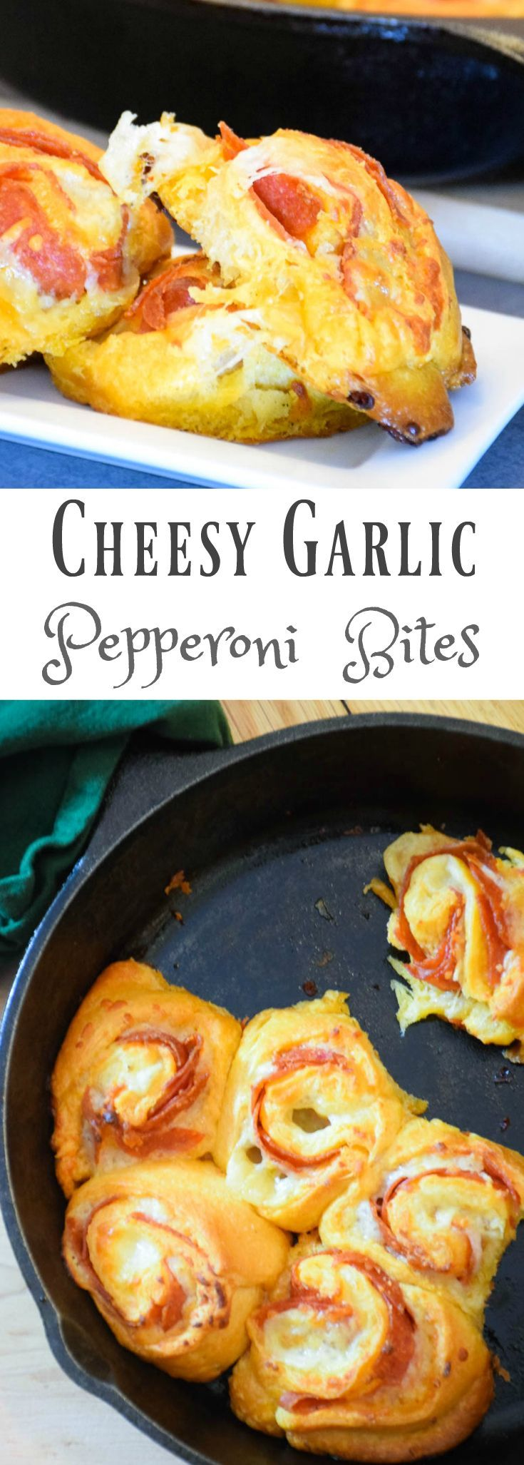 Cheesy Garlic Pepperoni Bites - easy to make and full of flavor! Make these for your next appetizer party! #MoreMomentsWithExcedrin #ad #collectivebias