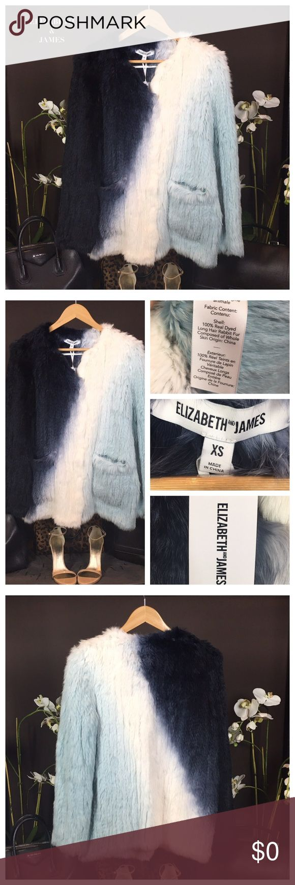 NWT ELIZABETH & JAMES BLUE & WHITE FUR COAT Elizabeth and James fur jacket boasts a lush feel for a comfortable wear throughout the day. Color: Jewel Blue. Size XS. (Runs slightly large) Material: 100% Real dyed long haired Rabbit fur. Condition: Excellent-NWT. Sold out. Elizabeth and James Jackets & Coats