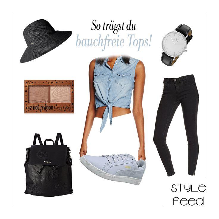 Bauchfreie Tops sind 2017 total im Trend! Ob zu Hosen oder Röcken, es gibt verschiedene Varianten, die zu allem passen. Uns gefallen besonders die Knoten Shirts, da du dein Top entweder etwas höher oder etwas tiefer binden kannst. Ganz sportlich und cool mit Jeans und Sneakers kombiniert - und ein Sommerhut darf auch nicht fehlen! Bauchfreies Top / Casual Look / Streetstyle Summer / summer look / Summer Outfit / Sommer Mode / Sommer Outfit Frauen #shopthislook | Stylefeed