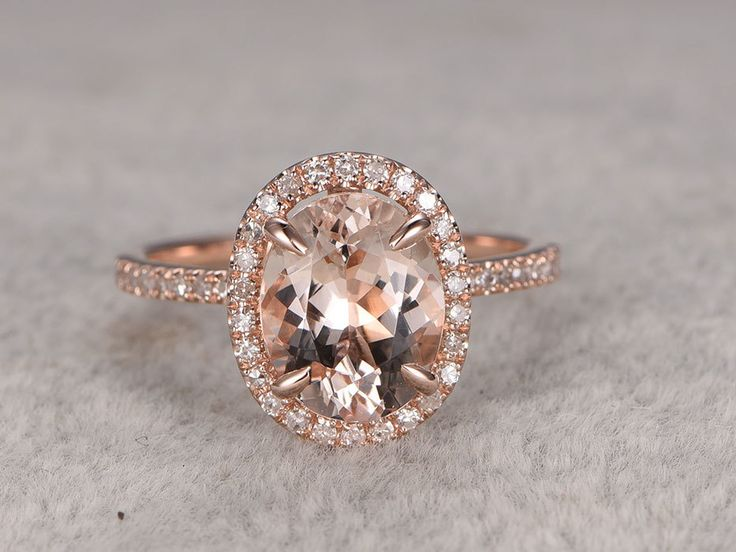 Rose Gold Morganite Halo Engagement Ring With Diamond 7x9mm Float Claw Prongs Promise Band 14k/18k - BBBGEM