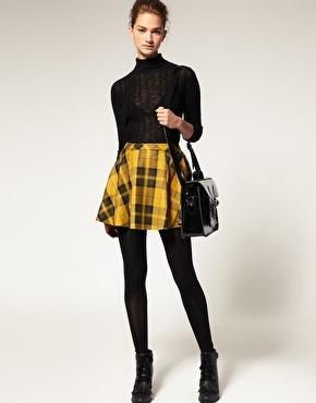 Plaid + mustard yellow= A happy ShareBear- ASOS Tartan Skirt - StyleSays