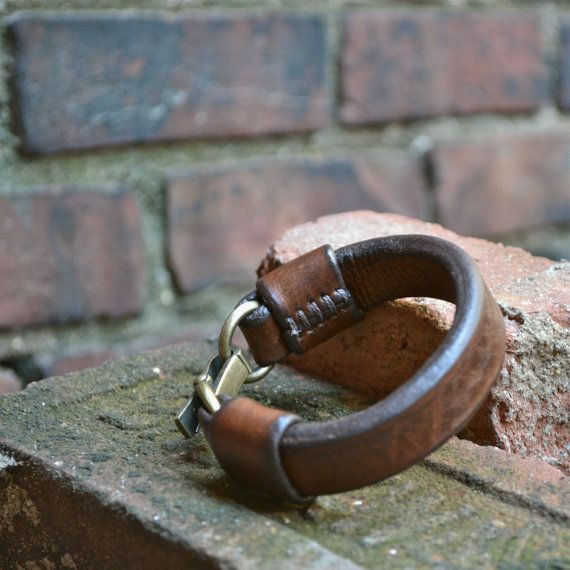 Mens Brown Leather Bracelet by Grey56Leather on Etsy