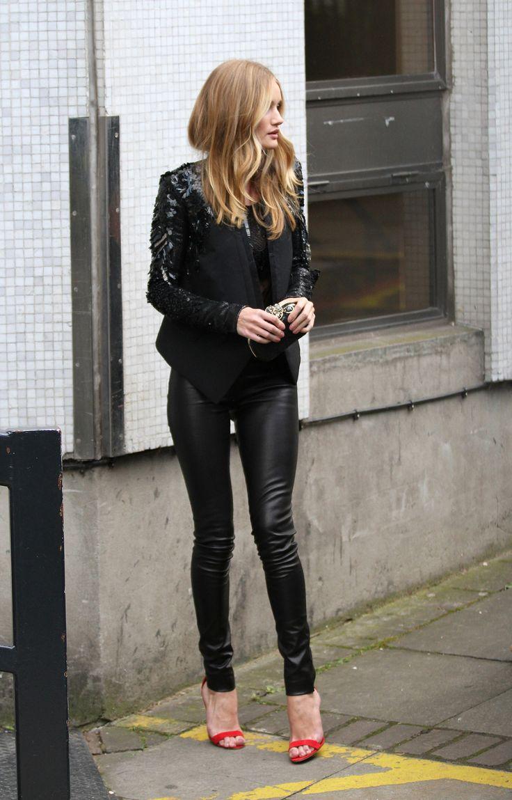 Casual Work Dressy Black Blazer Black Blouse Leather Pants Red Heels