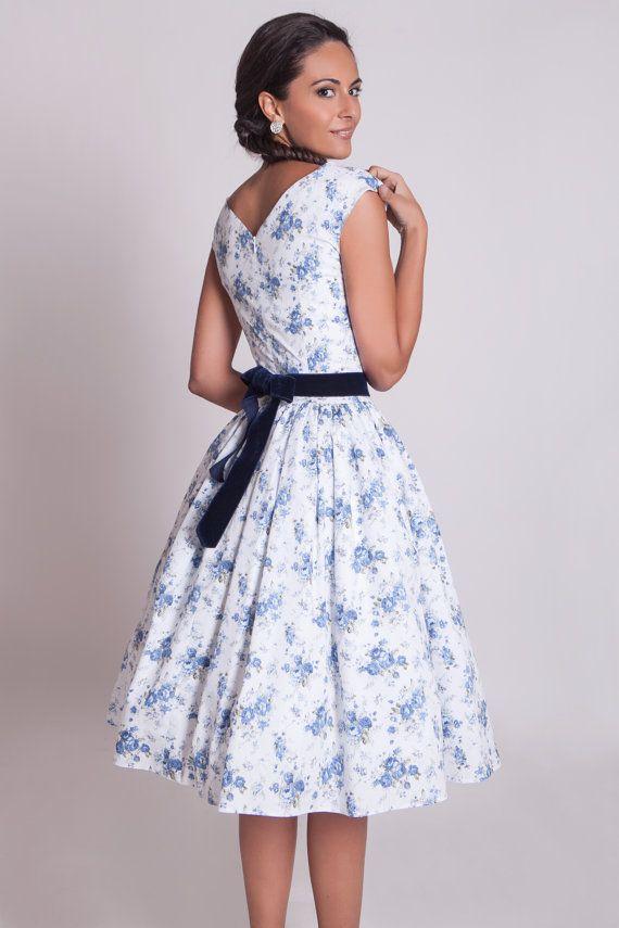 50s floral prom dress 1950s bridesmaid dress by ElaSiromascenko