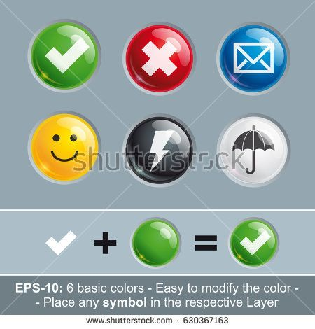 Set of vector icon buttons in six basic colors. Icon's Light, Shadow, Symbol, Color and Embossing are in separate layers. Insert any symbol and change to any color by modifying the respective layer.