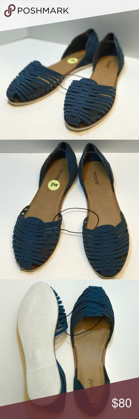 Nicole Suede Blue Flats Super comfy blue espadrilles suede flat sandals. Super cute with a dress or jeans or shorts. Great for summer and spring. The perfect basic! Brand New with Sticker tag, exactly how I got from store. Never been worn. Nicole brand. Size 9W Nicole  Shoes Flats & Loafers