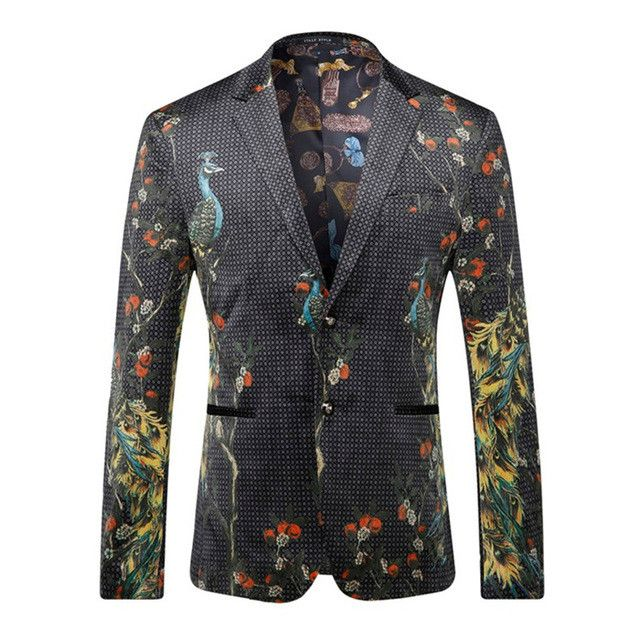 2017 Designer Peacock Printed Men's Blazers