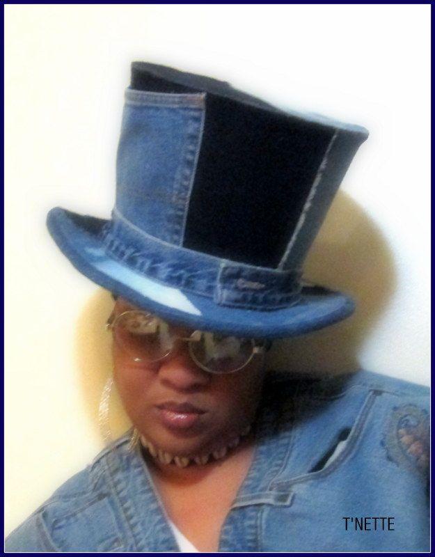 Denim Top Hat made by T NETTE. Designer Tinnette Hemmons  7f73a2a8715