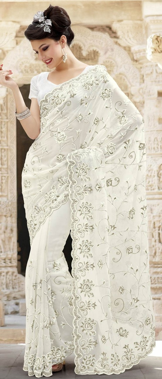 Off #White Faux Georgette #SareeWithBlouse @ $108.39