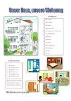 Ein AB über den Wortschatz der Plätze im Haus (Wohnzimmer, Küche, ...) - DaF Arbeitsblätter