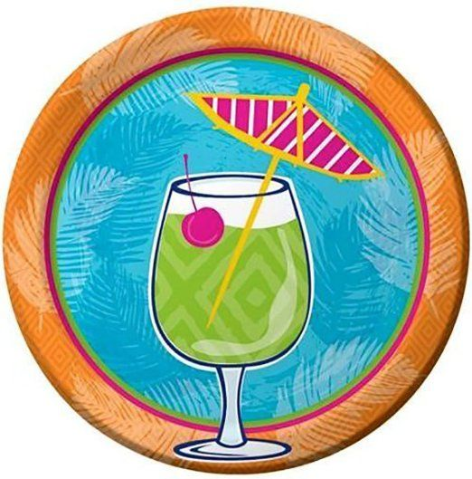 """Custom & Unique {7"""" Inch} 8 Count Multi-Pack Set of Medium Size Round Circle Disposable Paper Plates w/ Summer Pool Party Tropical Umbrella Drink Design """"Green, Teal, Yellow, Orange, & Pink Colored"""""""