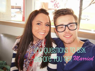 100 Questions to Ask your boyfriend/girlfriend/fiance before you get married....P.s. I love her blog!