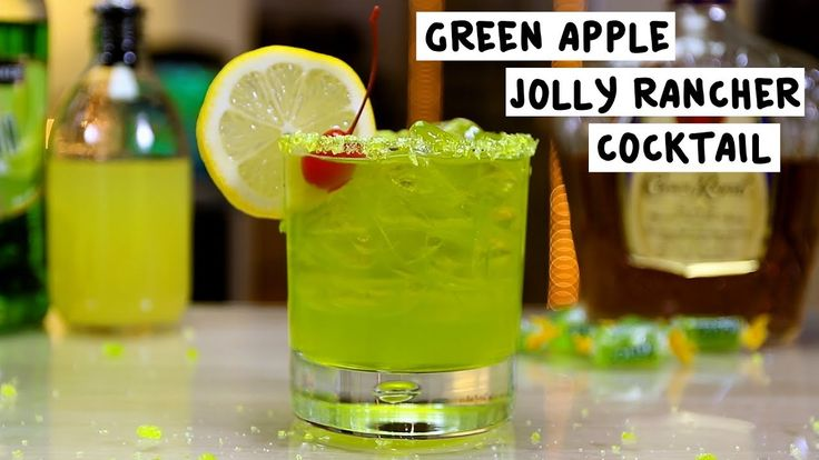 GREEN APPLE JOLLY RANCHER COCKTAIL 1 oz. (30ml) Crown Royal Whiskey 1 1/2 oz. (45ml) Melon Liqueur 3 oz. (90ml) Sweet & Sour Garnish: Jolly Rancher Rim/Lemon Wheel/Cherry PREPARATION 1. Rim edge of glass lightly in corn syrup and crushed green apple jolly ranchers. Set aside. 2. Add ice, whiskey, melon liqueur and sweet and sour to a mixing glass and shake to combine. 3. Strain over ice in rimmed glass and garnish with a lemon wheel and cherry. DRINK RESPONSIBLY!