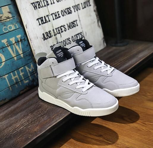 [Visit to Buy] Newest Spring Men Shoes Trainers Leather Fashion Casual High Top Sport Walking Lace Up Ankle Boots For Men Red Zapatillas Hombre #Advertisement