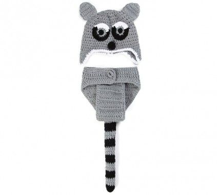 Black and Grey Squirrel Crochet Photography Prop in India. #photography #babyphotography #crochet #photographyprops #babyfashion #cutebabyphotoprop #beautifulphotoprops #pinkblueindia #shopmall