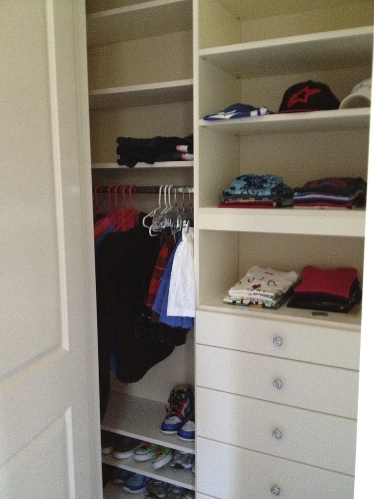 Organized Wall Closet In Melamine With Lots Of Closet Drawers.