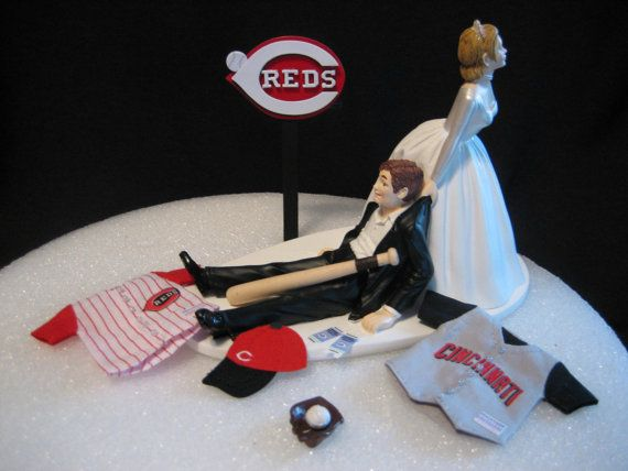 Cincinnati Reds BASEBALL Wedding Cake Topper Groom by finsnhorns, $49.95. Just switch the bride and groom for me!