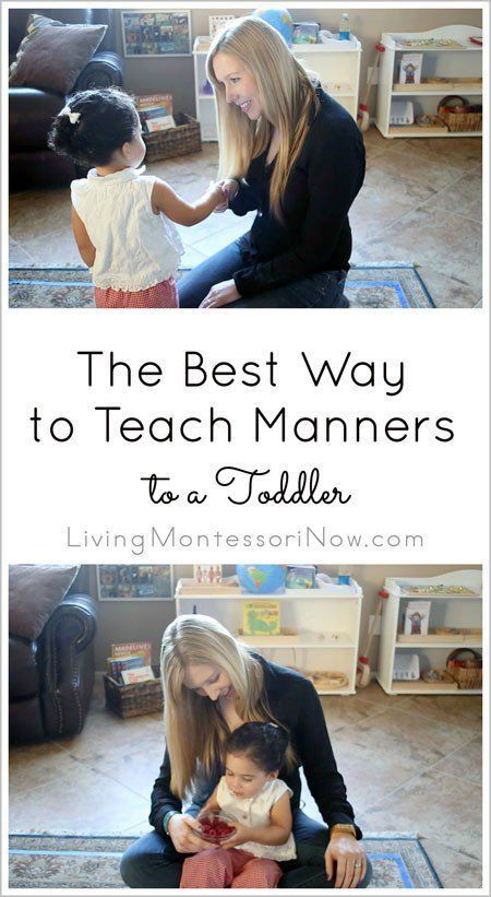 3 simple steps for teaching manners to a toddler using Montessori principles; post includes YouTube video and manners teaching tips