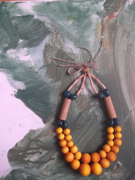 Chunky Yellow Wooden Necklace by EarthWater on Etsy, $35.00