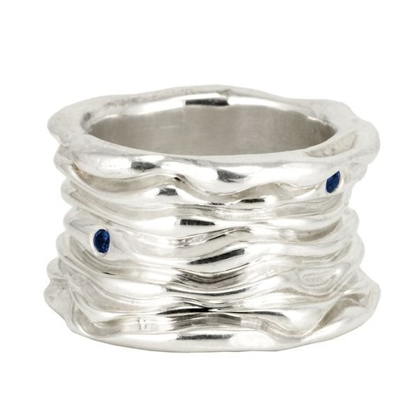 Water Wave Ring with Sapphires