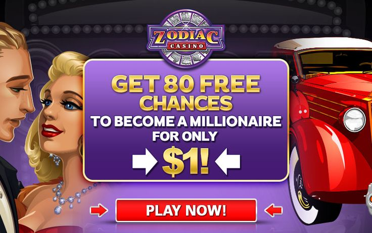80 chances to become an instant millionaire for €$1 AND Up to €$480 bonus on your next 4 deposits Minimum Deposit €$1 on first purchase, then $€10 on subsequent purchases. All bonuses and promotions for Zodiac Casino are handled by CasinoRewardsGroup the most competitive online loyalty program. ​*offer not available to UK players