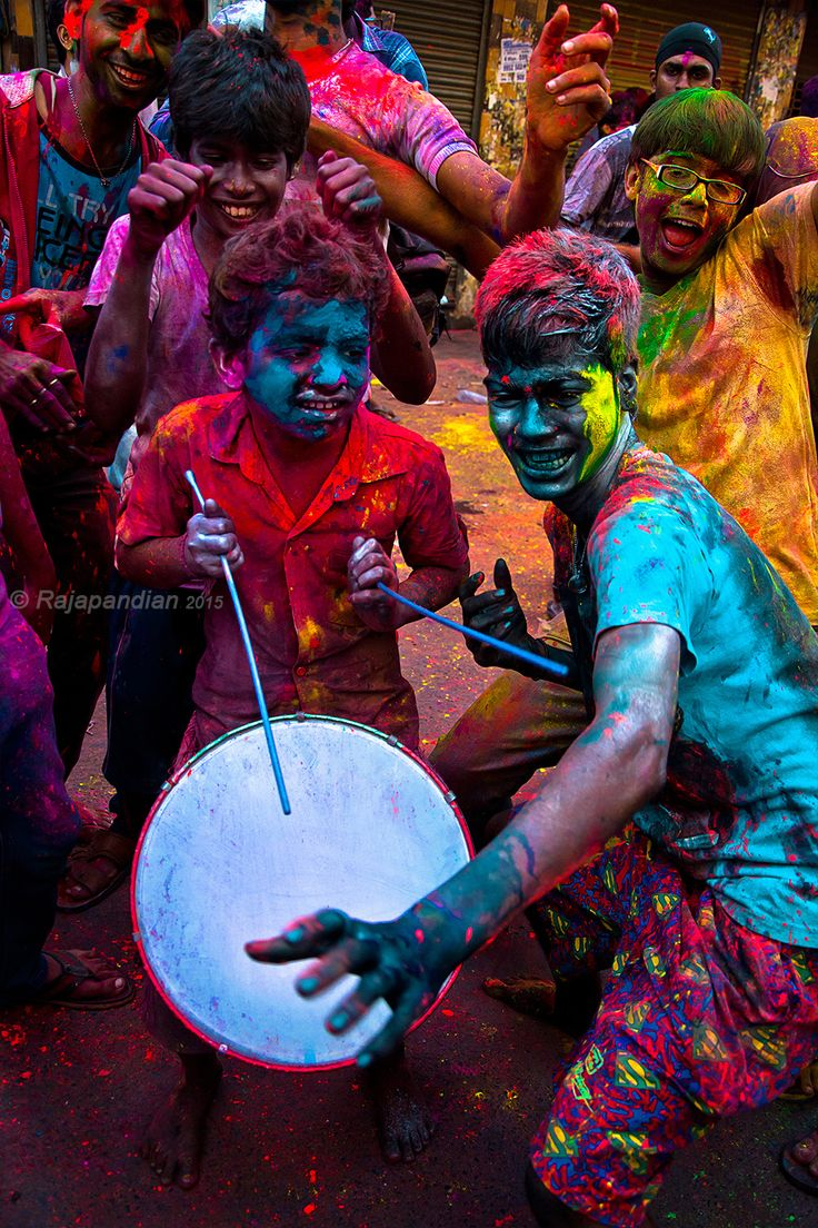 "Holi Fesival, Chennai, India. Symbolic legend explains why Holi is celebrated as a festival of colours. The word ""Holi"" originates from ""Holika"", the evil sister of the demon king Hiranyakashipu. The festival itself is believed to have origins from the Prahlada-Puri Temple of Multan in the Punjab region."