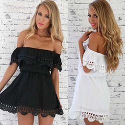 Online Shop Летние платья женщины сократить шеи шифон платье с плеча без бретелек кружева туника с коротким мини черный белый женственный свободного покроя платье Aliexpress Mobile