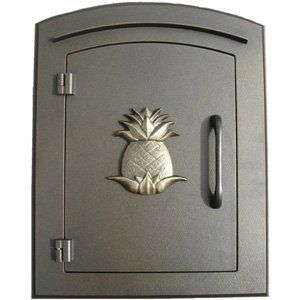 "Manchester Mailbox, Pineapple Logo, Bronze by Qualarc, Inc.. $279.00. mfr: Qualarc, Inc. This decorative cast aluminum mailbox insert can be matched with an optional newspaper holder or address plaque. The doors are sealed against the weather and its 22 gauge steel masonry box is electro-galvanized and powder coated to last. Faceplate Dimensions: 11"" x 14.5"". Masonry Can Dimensions: 16"" x 8.5"" x 12""."