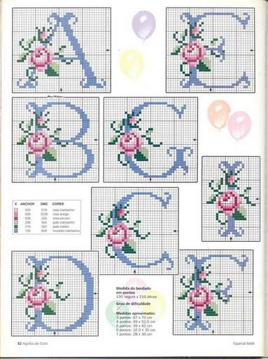 ... Rose cross stitch alphabet 1 from a lovely Turkish blog.  THis is another blow up the picture and print!
