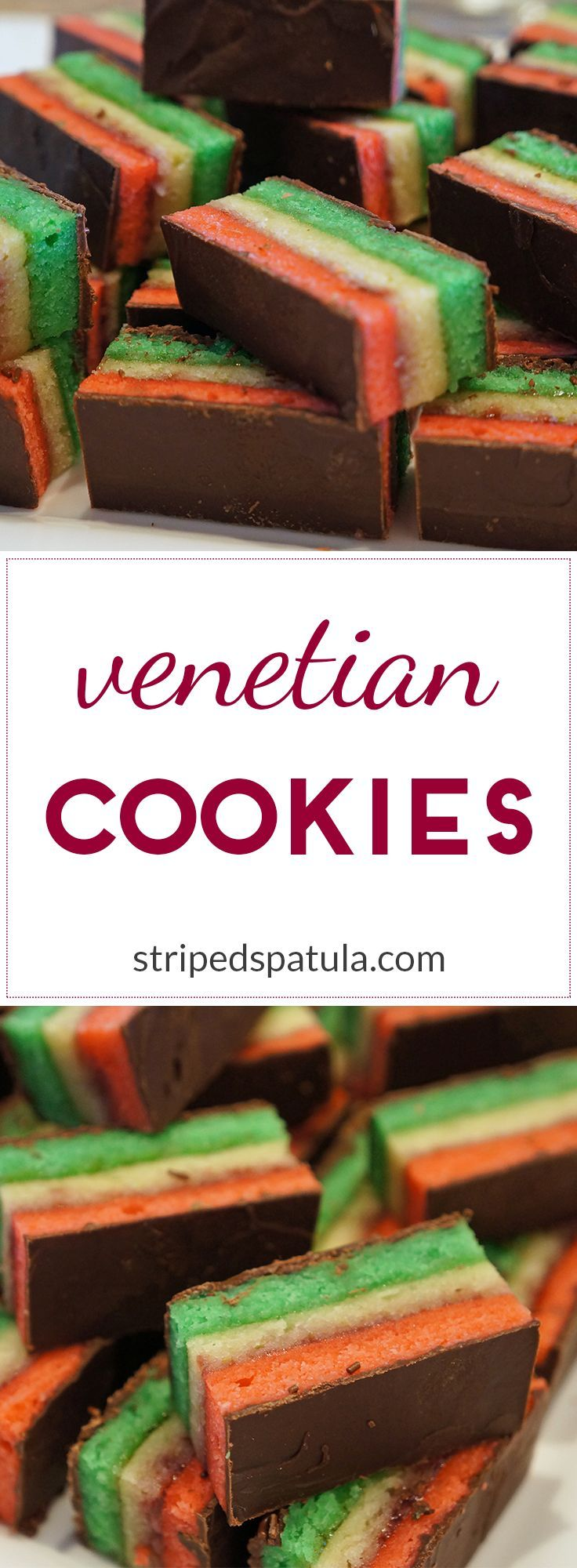 Venetian Cookies (also known as 7-Layer, Italian Rainbow, and Neapolitans) are layered petit fours with almond sponge cake, jam, and melted chocolate. Delicious!