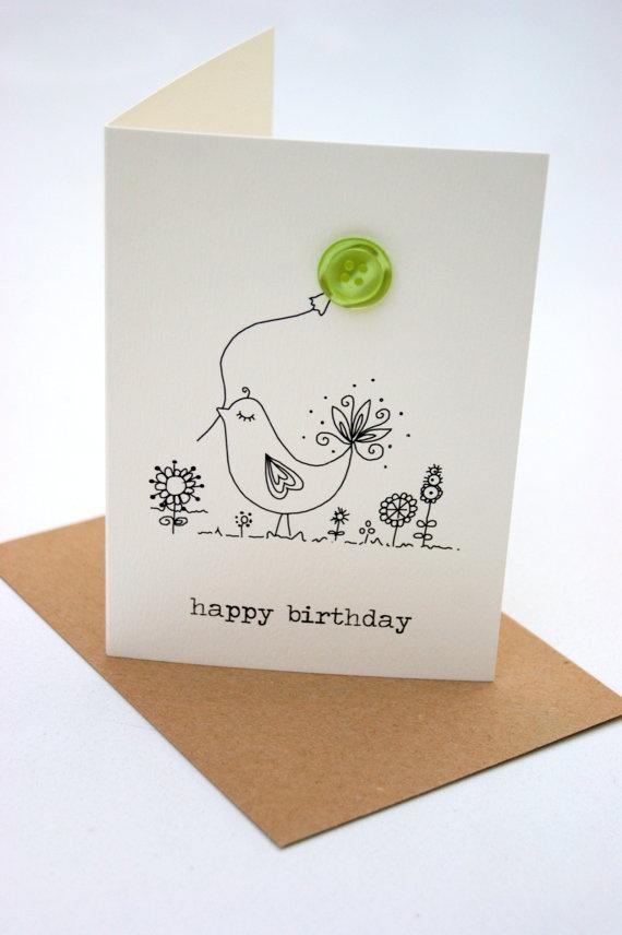'happy birthday' bird button box card.