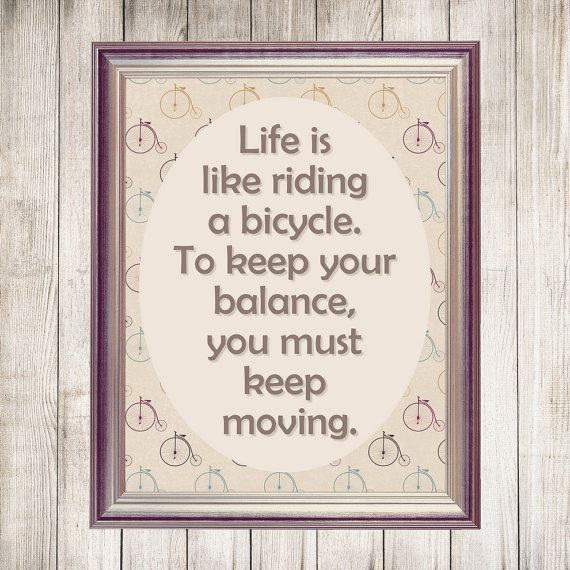 Riding a Bicycle Printable Wisdom Printable Quote by DigiBugs