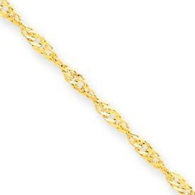 14k 1.6mm Singapore Chain Anklet - 9 Inch - Spring Ring - JewelryWeb JewelryWeb. $98.50