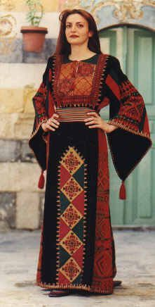 Traditional Palestinian Dress. An example of an ANAT dress based on pre 1948 Hebron styles.